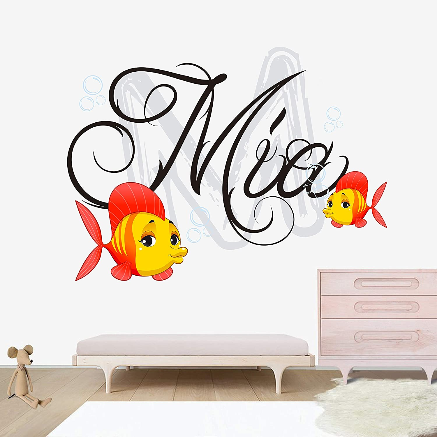 Personalized Name Wall Decal - Bubble Fish Wall Decal Vinyl Sticker Nursery for Home Bedroom Children