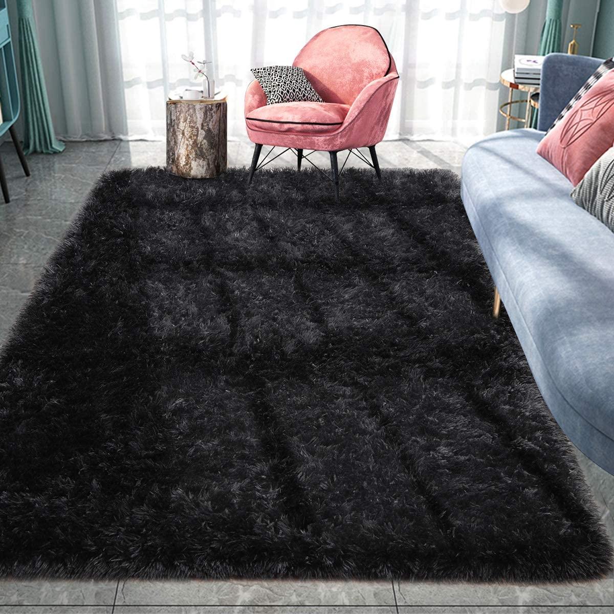 Pacapet Fluffy Area Rugs, Black Shag Rug for Bedroom, Plush Furry Rugs for Living Room, Fuzzy Carpet for Kid's Room, Nursery, Home Decor, 4 X 6 Feet
