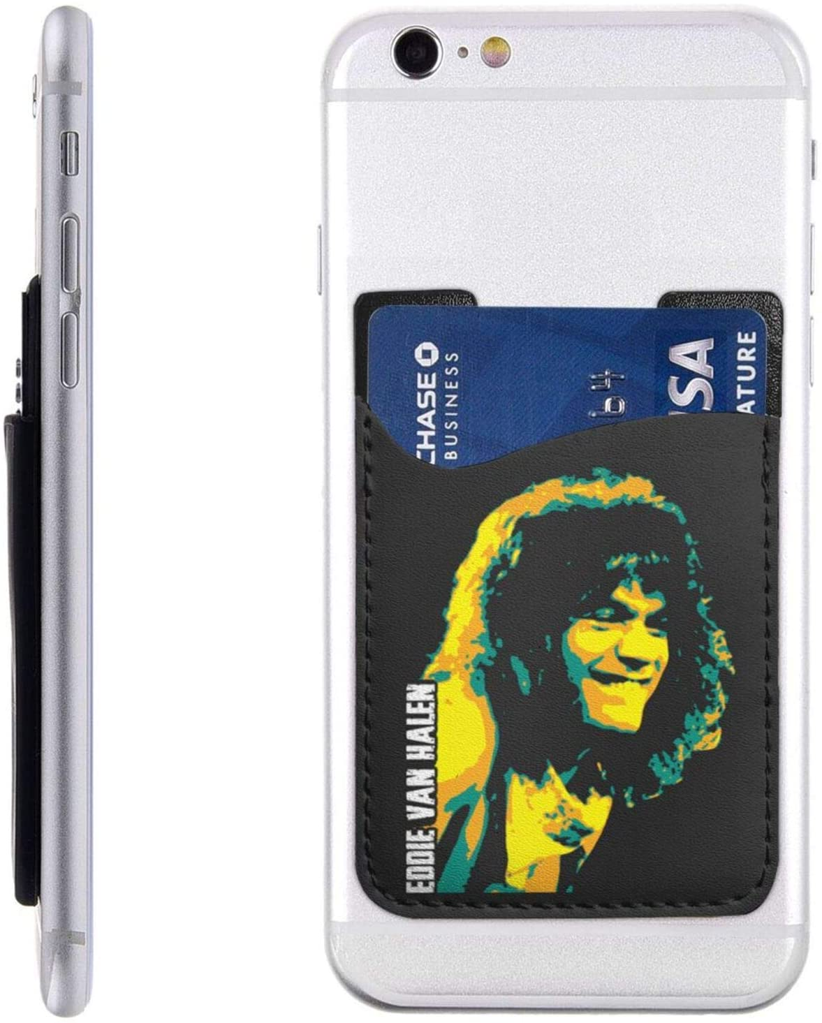 Eddie Van Halen Phone Card Holder, Stick-On Id Credit Card Wallet Phone Case Pouch Sleeve Pocket for iPhone, Android and All Smartphones