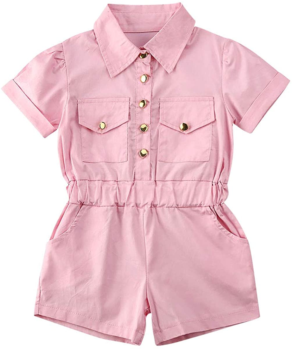 Liyamiee Fashion Toddler Baby Girl One Piece Outfits Solid Color Pink Pocket Turn Down Collar Romper Overalls Summer Clothes