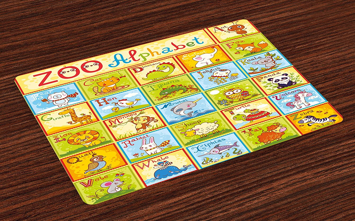 Ambesonne Educational Place Mats Set of 4, Zoo Alphabet Design Colorful Style Funny Cartoon Animals Children Kids School, Washable Fabric Placemats for Dining Room Kitchen Table Decor, Multicolor