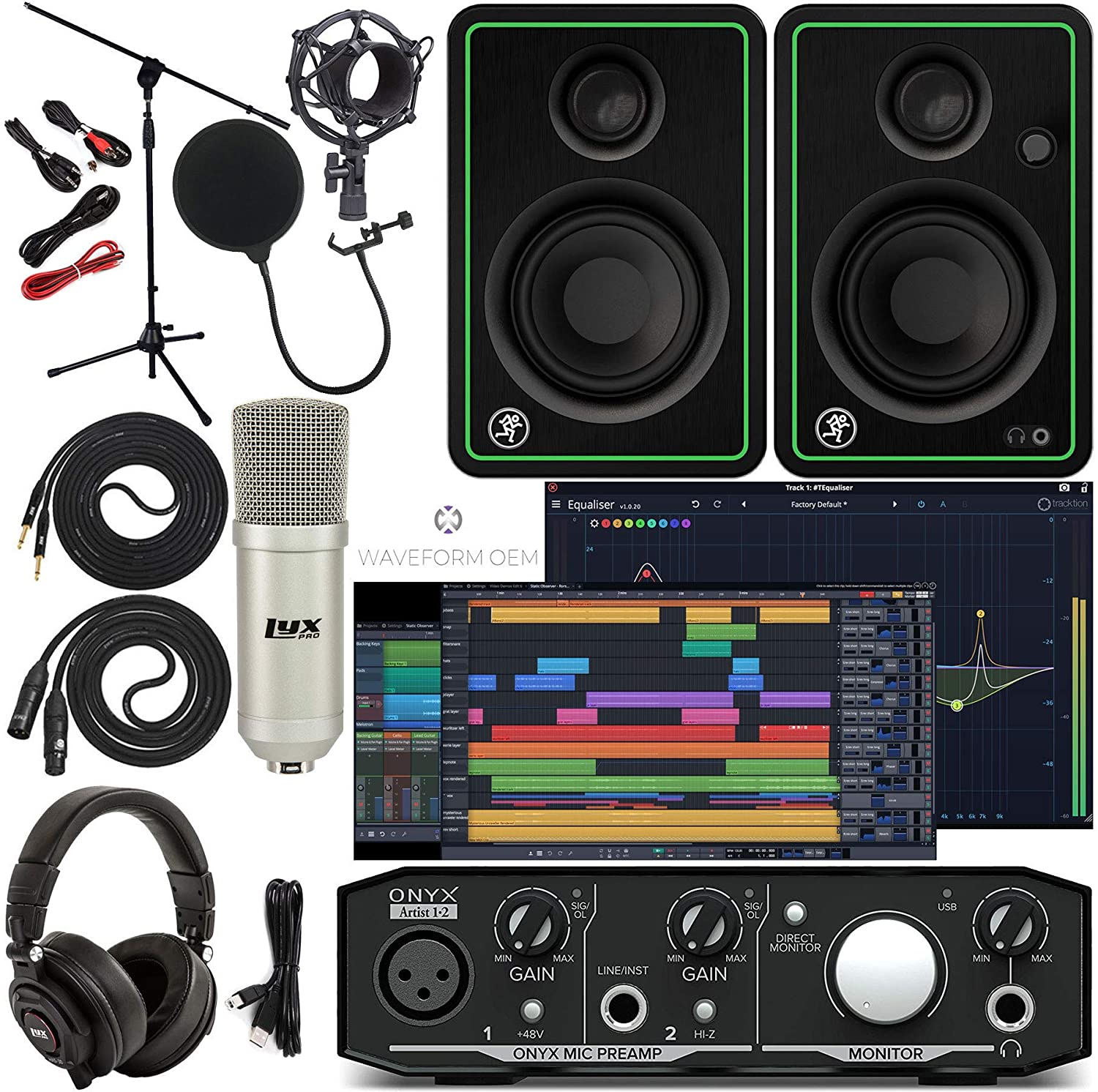 Mackie Onyx Artist 1-2 Audio Interface With Pro Tools First/Tracktion Music Production Software, CR5-X Pair Studio Monitors, Condenser Studio Microphone, XLR, Headphones, Mic Stand