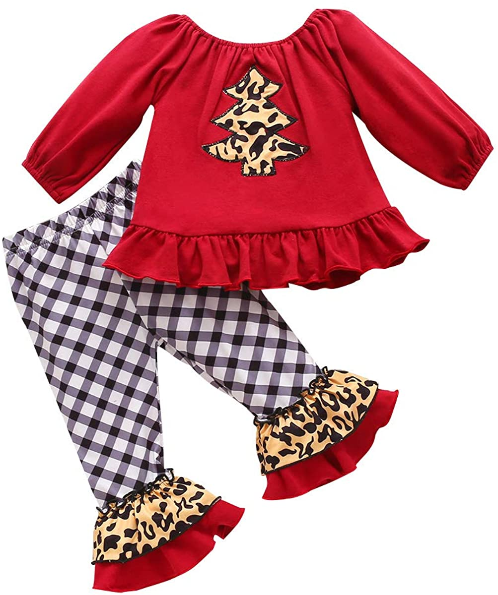Christmas Pants Set for Toddler Girl Ruflle Off-Shoulder Top Leopard Flare Bell-Bottom Pants Baby Girl Xams Outfit Set