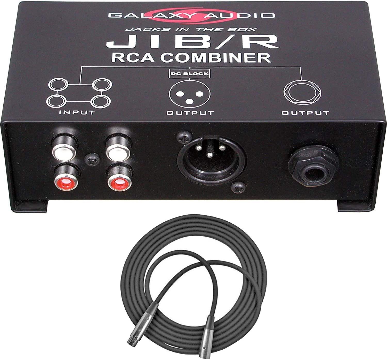 Galaxy Audio JIB/R RCA Combiner (JIBR) + XLR Mic Cable XLR-M to XLR-F