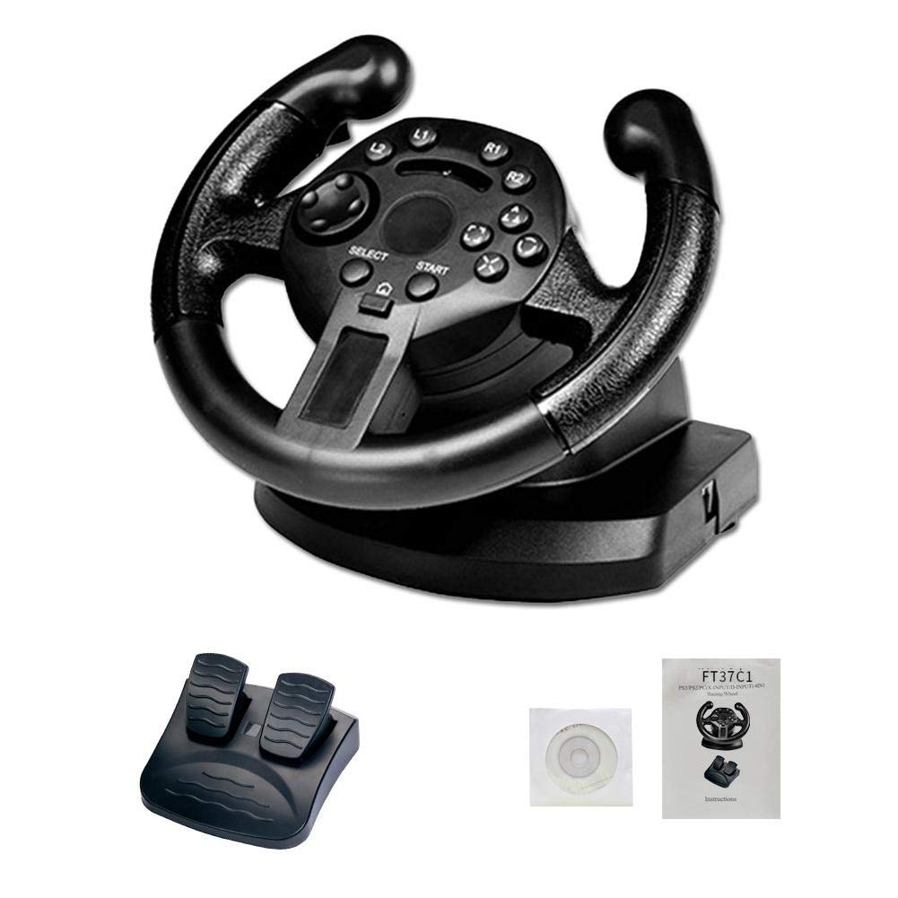 Game Racing Steering Wheel Compatible Racing Wheel for PS3/PC (D-Input/X-Input) Simulated Driving Controller Vibration