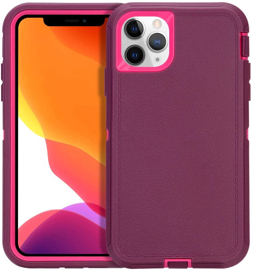 CAFEWICH Case for iPhone 11 Pro Max 6.5 inch 2019, Rugged Durable Heavy Duty 3-in-1 Shockproof Rubber Full Body Protective Cover, Phone Case for Apple iPhone 11 Pro Max (Wine)