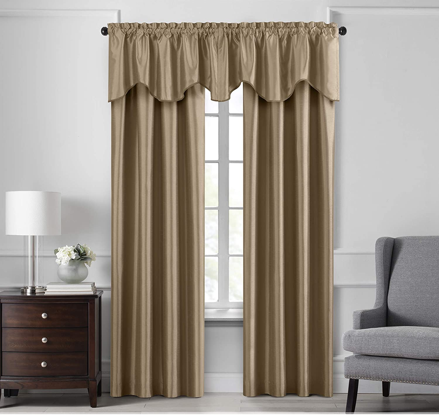 Elrene Home Fashions Colette Faux Silk Blackout Window Curtain Panel, 52