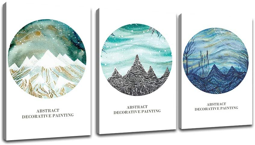 Abstract Mountains Canvas Wall Art for Living Room Modern 3 Pieces Print Poster Picture Artworks for Bedroom Bathroom Kitchen Wall Decor Framed Ready to Hang (16x24)