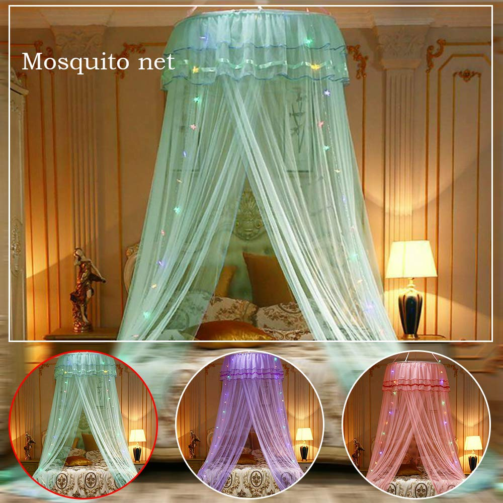 LED Light Princess Dome Mosquito Net Mesh Bed Canopy Bedroom Decoration Luxury Princess Bed Canopy Mosquito Net for Girls, Teens or Over Baby Crib in Nursery