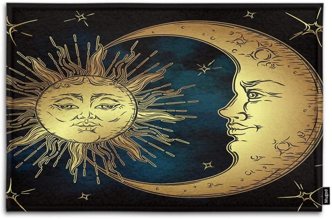 Mugod Boho Chic Indoor/Outdoor Doormat Antique Style Art Golden Sun Crescent Moon and Stars Over Blue Black Sky Funny Doormats Bathroom Kitchen Area Rug Non Slip Entrance Door Floor Mats, 18