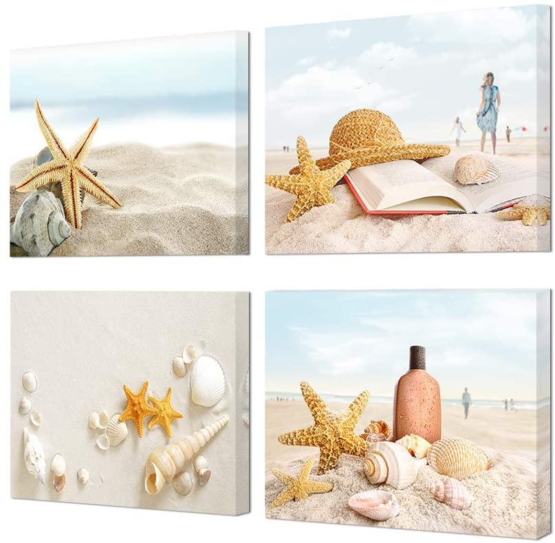 HOMEOART Ocean Coastal Beach Bathroom Wall Picture Seashell Starfish Painting Canvas Prints Framed Ready to Hang 12x16inchx4 Panel