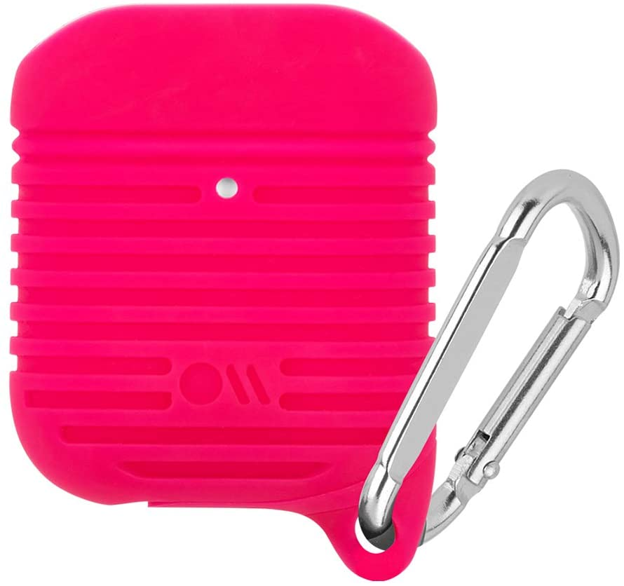 Case-Mate - Tough Airpods Case - Drop Protected - Waterproof Up to 3 Feet - Compatible with Apple Airpods Series 1 & 2 - Bright Pink W/Silver Carabiner