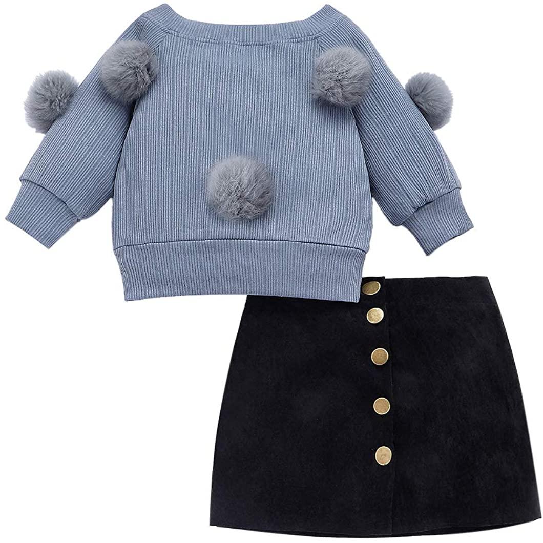 VISGOGO Toddler Kid Baby Girl Long Sleeve Girls Hairball Knit Sweater+Skirt Dress 2PCS Outfit Clothes