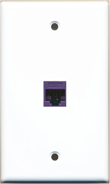 RiteAV - 1 Port Cat5e Ethernet Purple Wall Plate White RAV1007