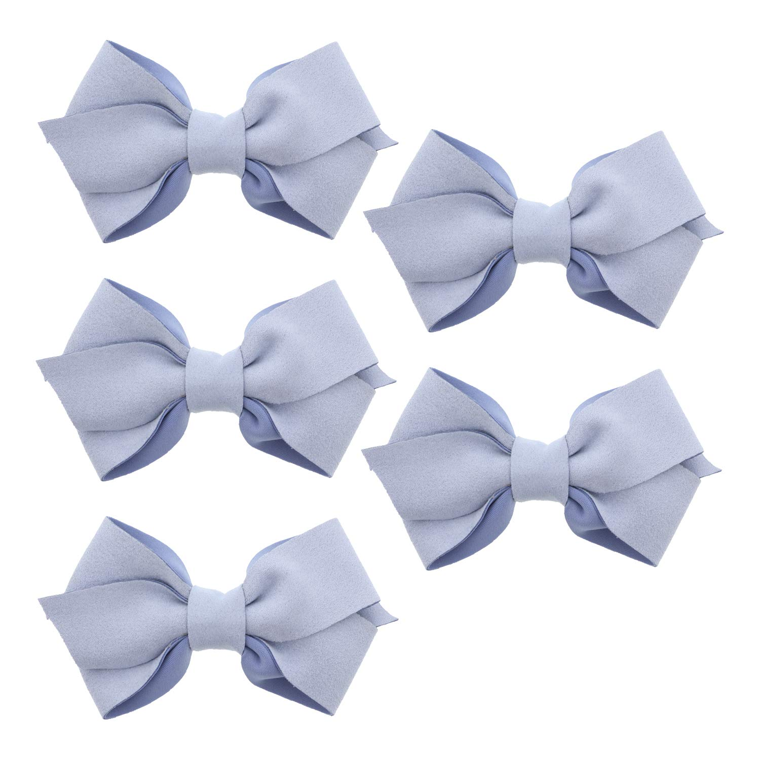 Ocean Blue Small Suede Scuba Hair Bow For Girls - Set of 5