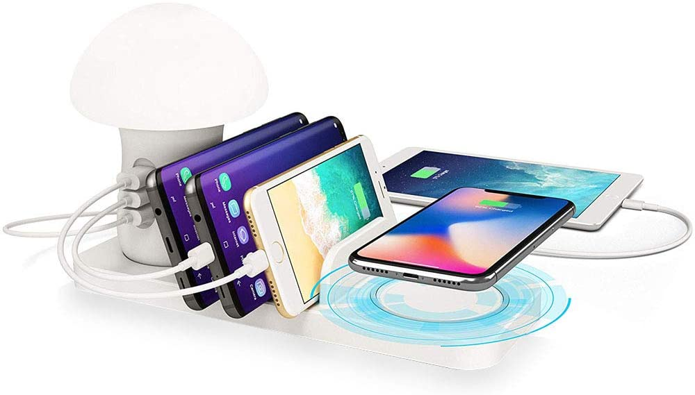 4-in-1 Desk Docking Station Organizer Fast Wireless Charging for Multiple Devices with Reading Light Compatible with iPhone, Smart Phones Tablets - White