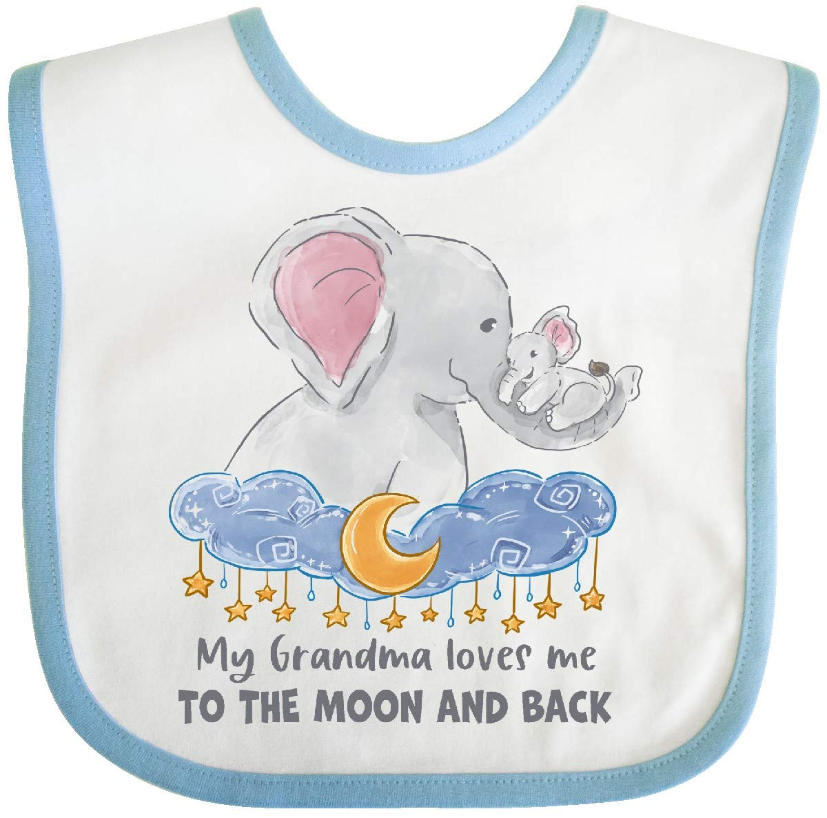 Inktastic My Grandma Loves Me to The Moon and Back Baby Bib White and Blue 3b110