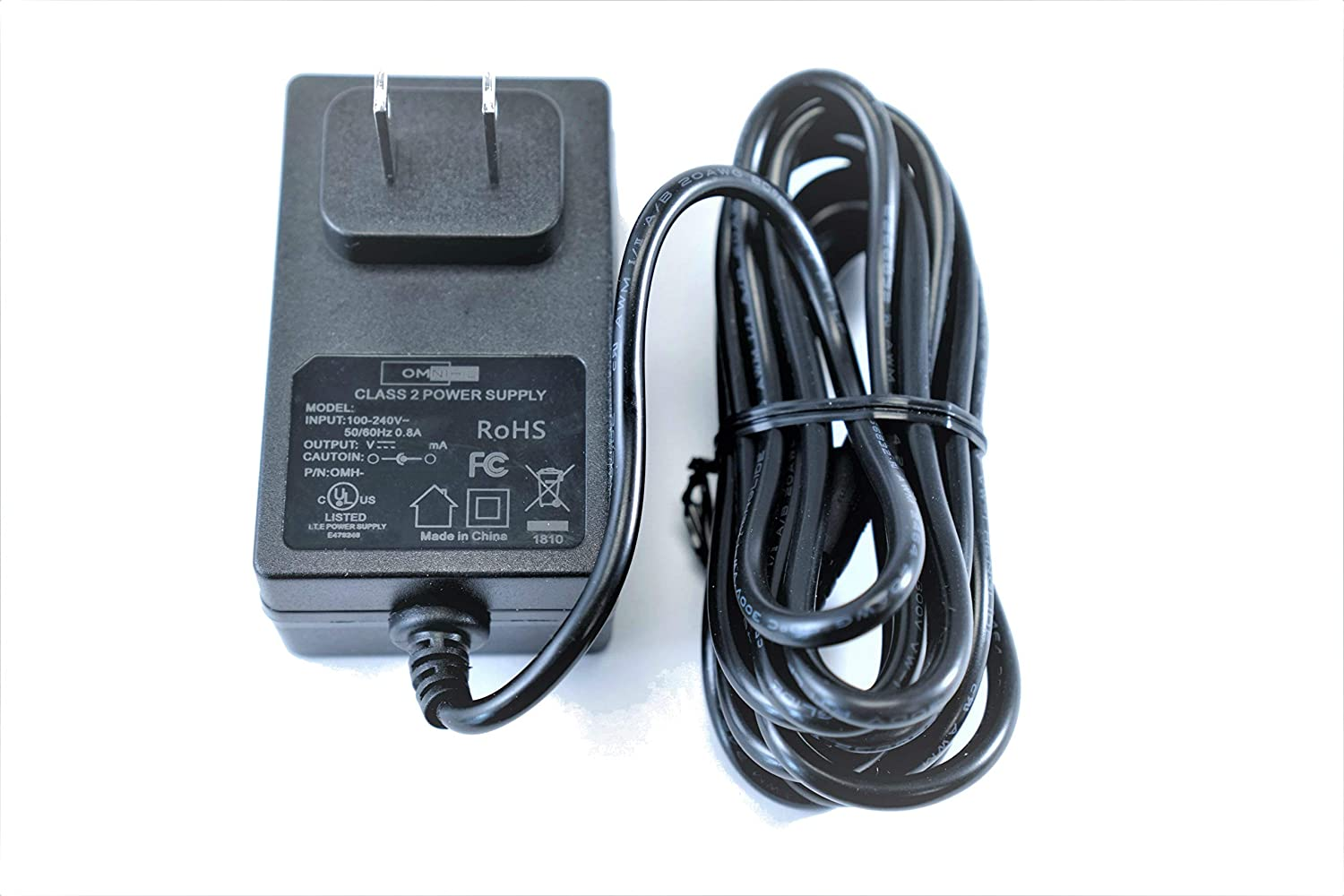 [UL Listed] OMNIHIL 8 Feet Long AC/DC Adapter 15V 1A 1000mA 5.5x3.0 pin (D Plug) OMH-120-1510U Power Supply World Wide Voltage 100-240V