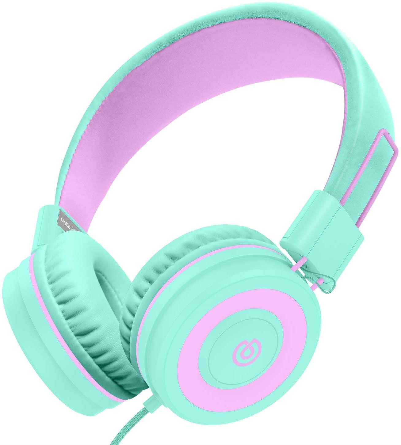 Kids Headphones,Besom i66 Headphones for Girls- Wired Headphones for Kids, Adjustable Foldable Tangle-Free Cord 3.5mm Jack on Ear Headset for iPad Tablet Kindle Airplane School (Green)