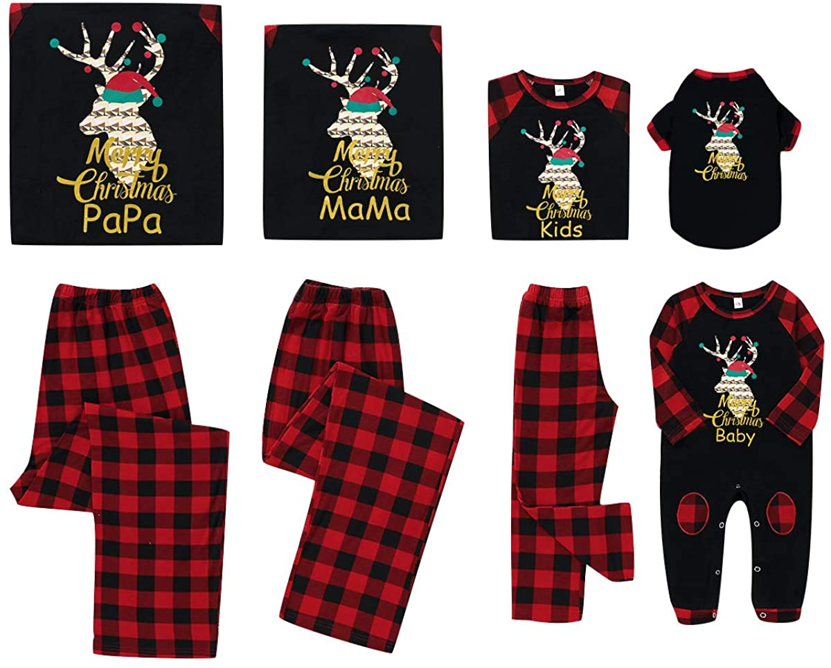 Christmas Family Matching Pajamas Set, Reindeer Plaid Outfits Xmas PJS for Pet Baby Kid Adult