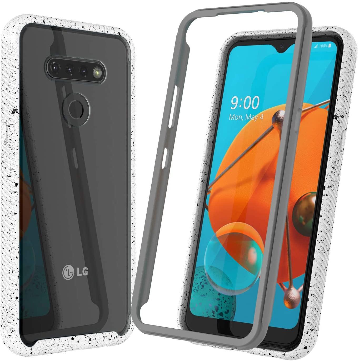 Njjex for LG K51 Case, LG Q51 / LG Reflect Case 2020, [Npatt] Hybrid Impact Transparent Clear Back Soft TPU Bumper Case + PC Plastic Front Cover Shockproof Phone Cover for LG K51/Q51 [6.5