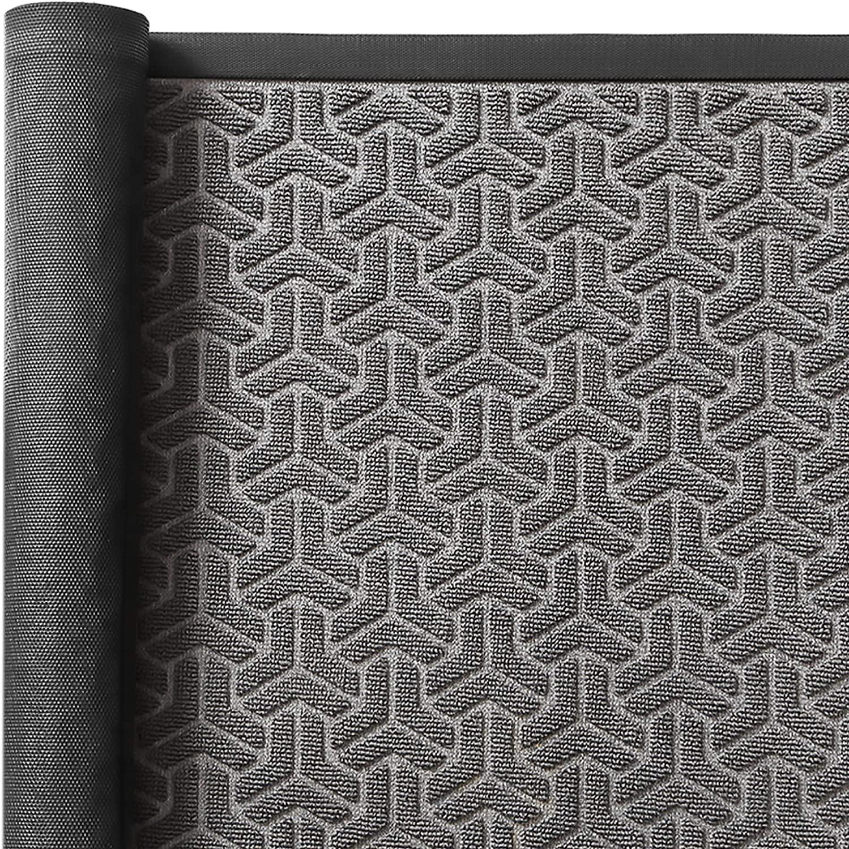 Color&Geometry Outdoor Door Mat 35X59 Rubber Mats, Low-Profile Doormat,Waterproof, Heavy Duty Mat for Patio, Entry, Back Front Door,Grey