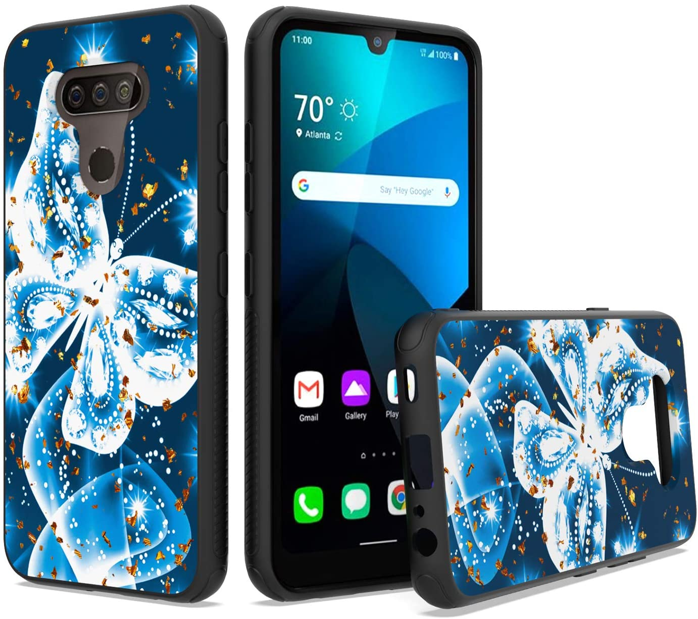 UNC Pro Cell Phone Case for LG Harmony 4/ LG Xpression Plus 3, Blue Butterfly Gold Foil Embedded Dual Layer TPU Hybrid Case, Shockproof Bumper Protective Cover