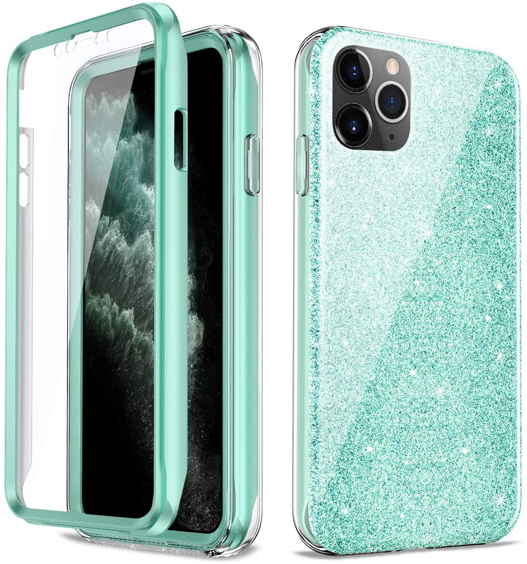 Glitter Case Compatible with iPhone 11 Pro Protective Case Luxury Shiny Sparkle Bling Case for iPhone 11 Pro Bling Antislick Slim Cover, Built-in Screen Protector (Bling Green)