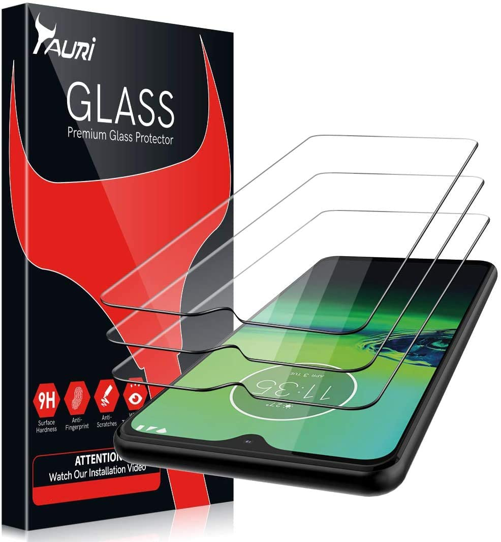 TAURI [3-Pack] Motorola Moto G8 Play Screen Protector, [Alignment Frame] [Bubble Free] [Anti-Scratch] Multiple Defense Technology Tempered Glass