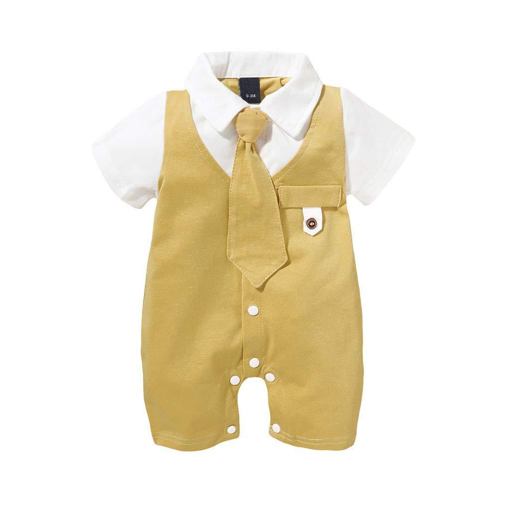 Boy Romper Jumpsuit Set Newborn Infant Baby Boys Solid Gentleman Tie Romper Jumpsuit Outfits Clothes