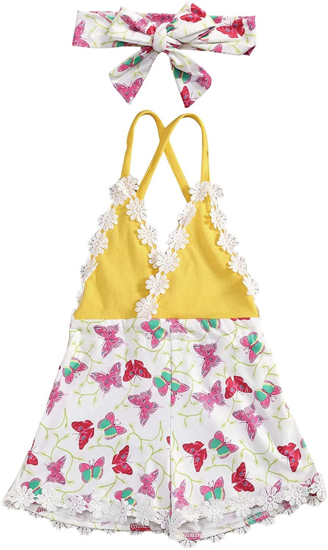 2PCS Newborn Baby Girl Summer Clothes Sleeveless Backless Butterfly Print Halter Bodysuit Jumpsuit+Headband