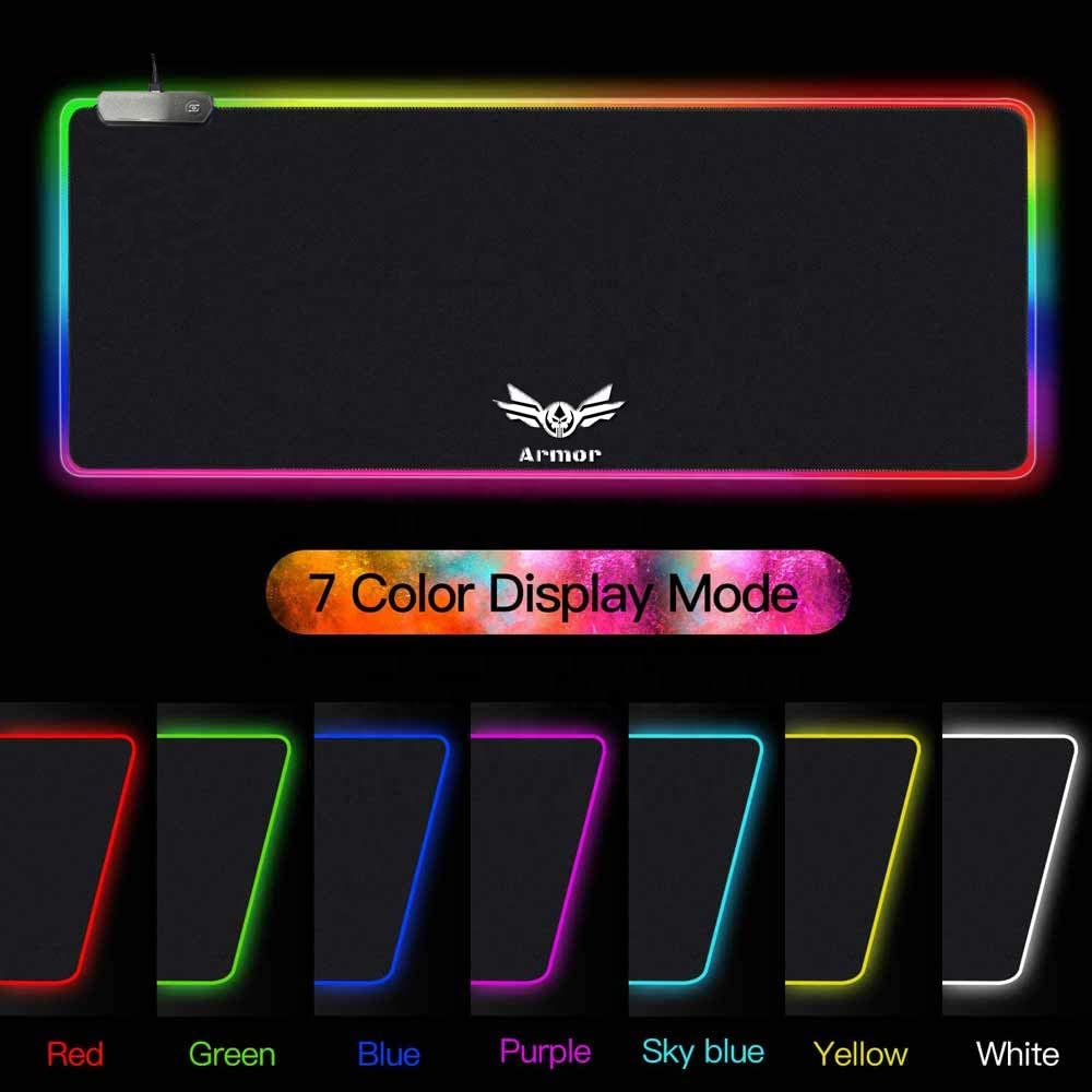 Armor-RGB Gaming Mouse Pad | LED Soft Extra Extended Large Mouse Pad | Anti-Slip Rubber Base