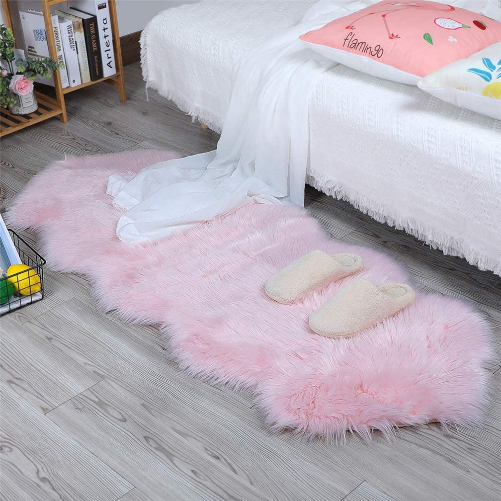 HLZHOU Pink Faux Fur Rug Soft Fluffy Chair Cover Seat Pad Area Rugs for Bedroom Sofa Living Room Floor (2x5.3 Feet (60x160cm), Double Shape Pink)