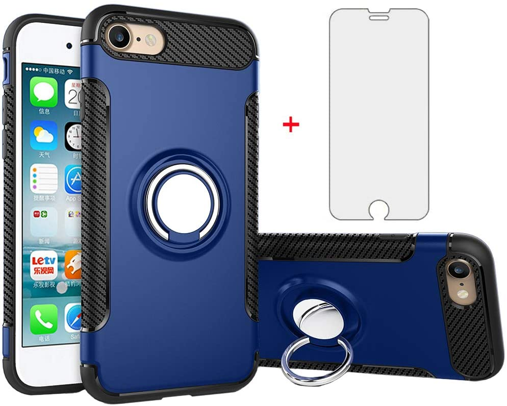 Phone Case for Apple iPhone 7/8 with Tempered Glass Screen Protector Cover and Stand Ring Holder Slim Hybrid Hard Cell iPhone7 iPhone8 i Phone7case Phone8case Phones8 i7 i8 7s 8s Cases Men Boys Blue