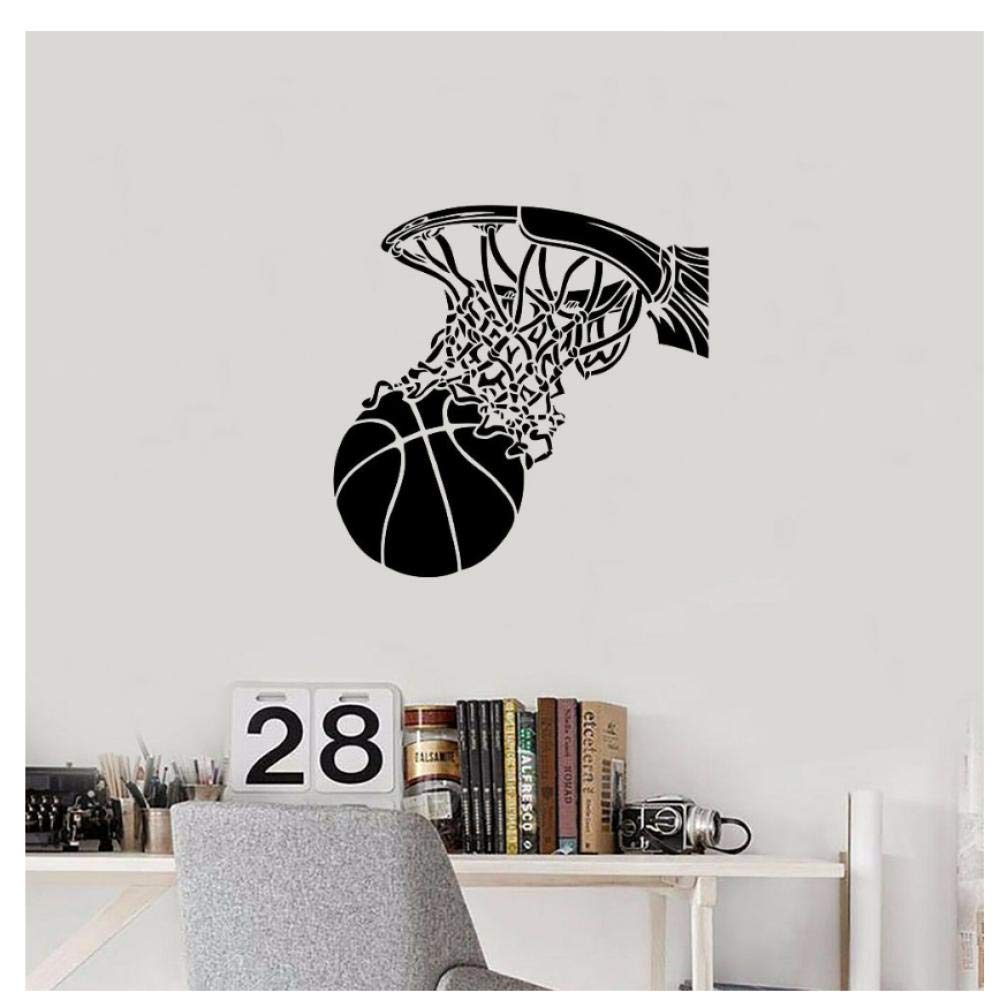 Wall Stickers Basketball Wall Decal Ball and Basket Sports Door Window Vinyl Stickers Teens Kids Boy Bedroom Stadium Interior Decor Mural 74x74cm