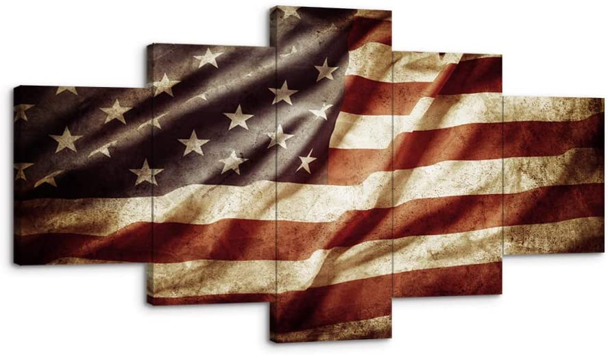US USA Closeup Grunge American Flag Canvas Art Wall Decor Canvas Prints Wall Art Vintage Retro Style Flag Wall Pictures for Living Room Bedroom 5 Panel Framed Ready to Hang(60Wx32H, i)
