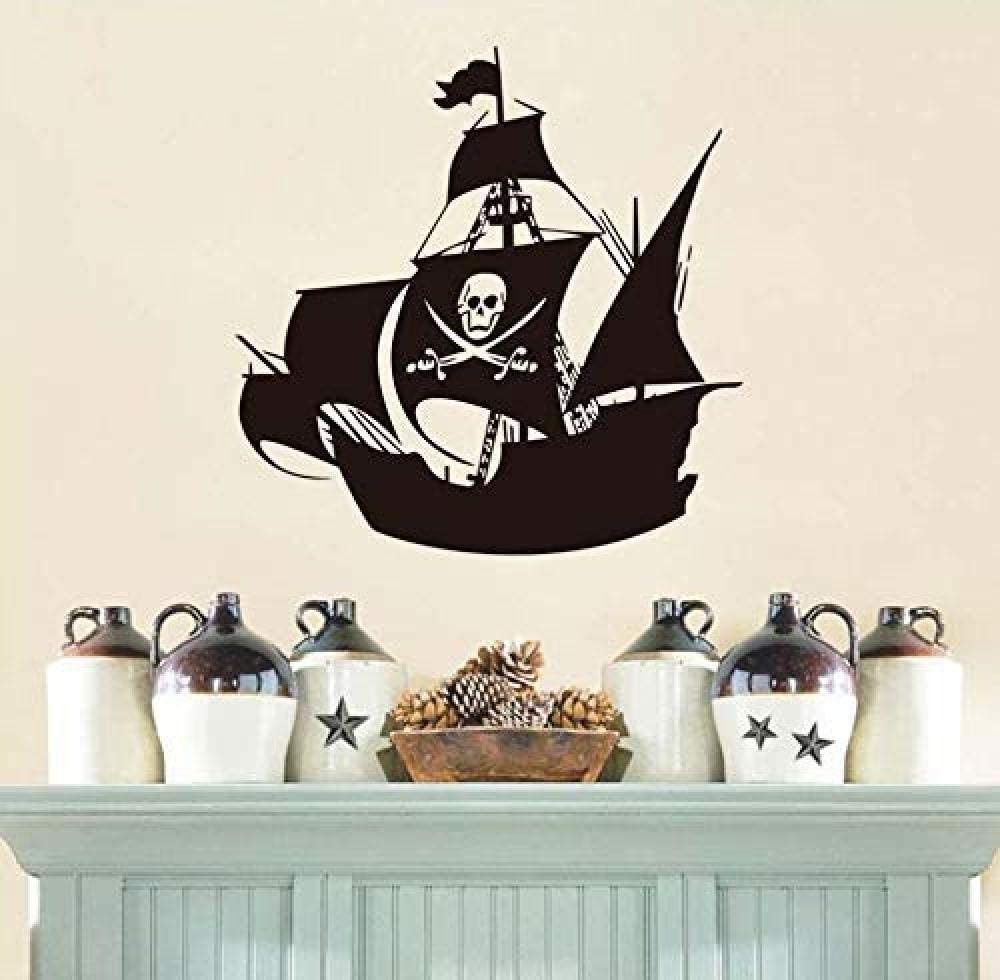 dferh Wall Sticker Cool Pirate Ship Wall Stickers Nursery Creative Cartoon Wall Decor Waterproof Vinyl Sticker Wall Decals 59X59 cm