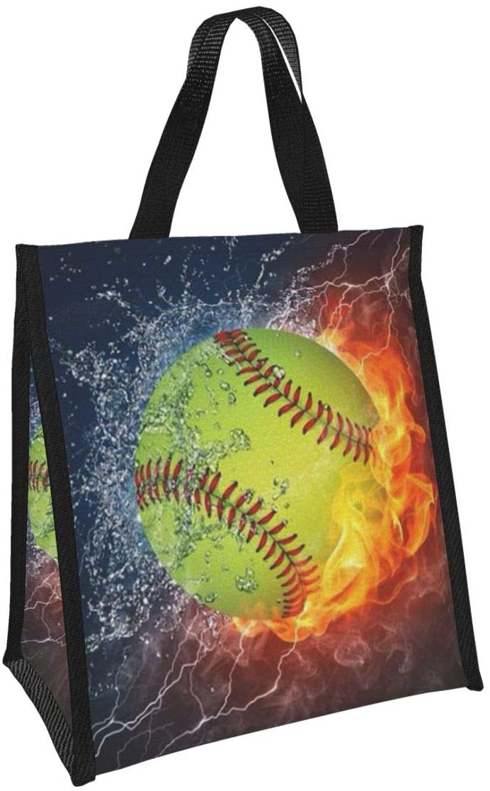 Baseball Reusable Lunch Bag Insulated Lunch Box With Aluminum Foil Tote Bag For Kids,Women,Men,School,Office