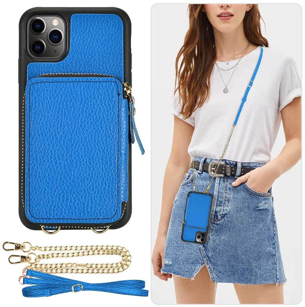 iPhone 11 Pro Wallet Case, ZVE Zipper iPhone 11 Pro Case with Card Holder Slot Crossbody Chain Strap Purse Wrist Strap Leather Protective Bumper Cover for Apple iPhone 11 Pro 5.8 inch - Sky Blue