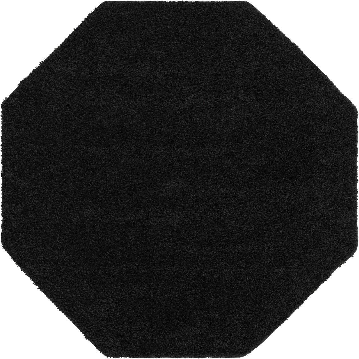 Rugs.com Everyday Shag Rug – Black 8 Ft Octagon Shag Rug Perfect for Living Rooms, Kitchens, Dining Areas and More