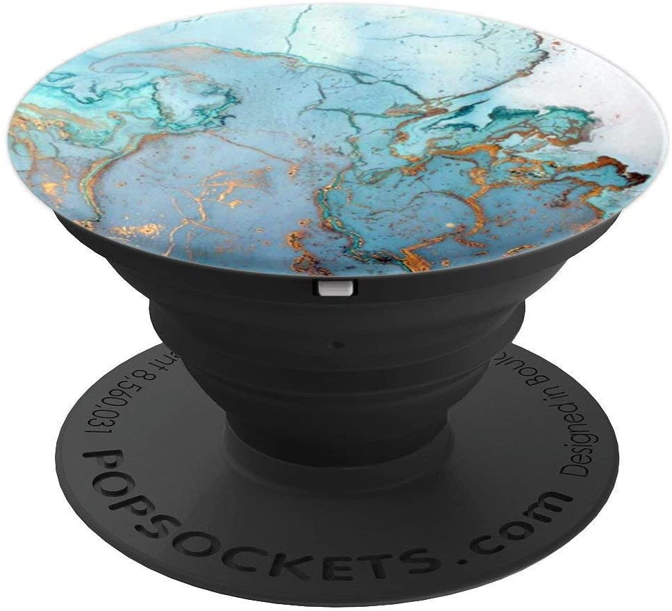 Green Marble Watercolor Ink with Gold Opal Gemstone PopSockets Grip and Stand for Phones and Tablets