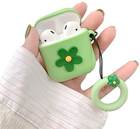 Qokey AirPods Case,Cute Soft Silicone 3D Funny Flower Fashion Design Shockproof Cover for Apple AirPods 2 & 1 Wireless Charging Cases with Keychain Pretty Girls Teens Women Green Flower