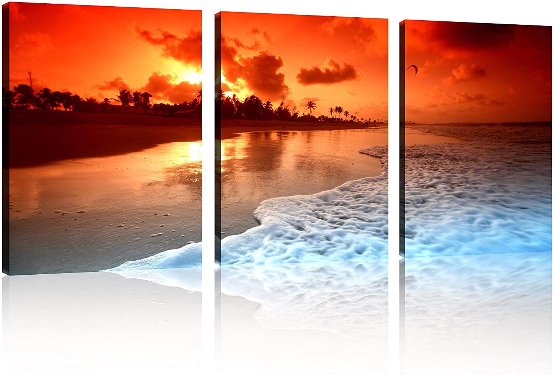 TutuBeer 3 Panels Beach Home Decor Beach Decor for Home Beach Decor Pictures of The Beach at Sunrise for Bathroom Wall Decor Home Decor 12