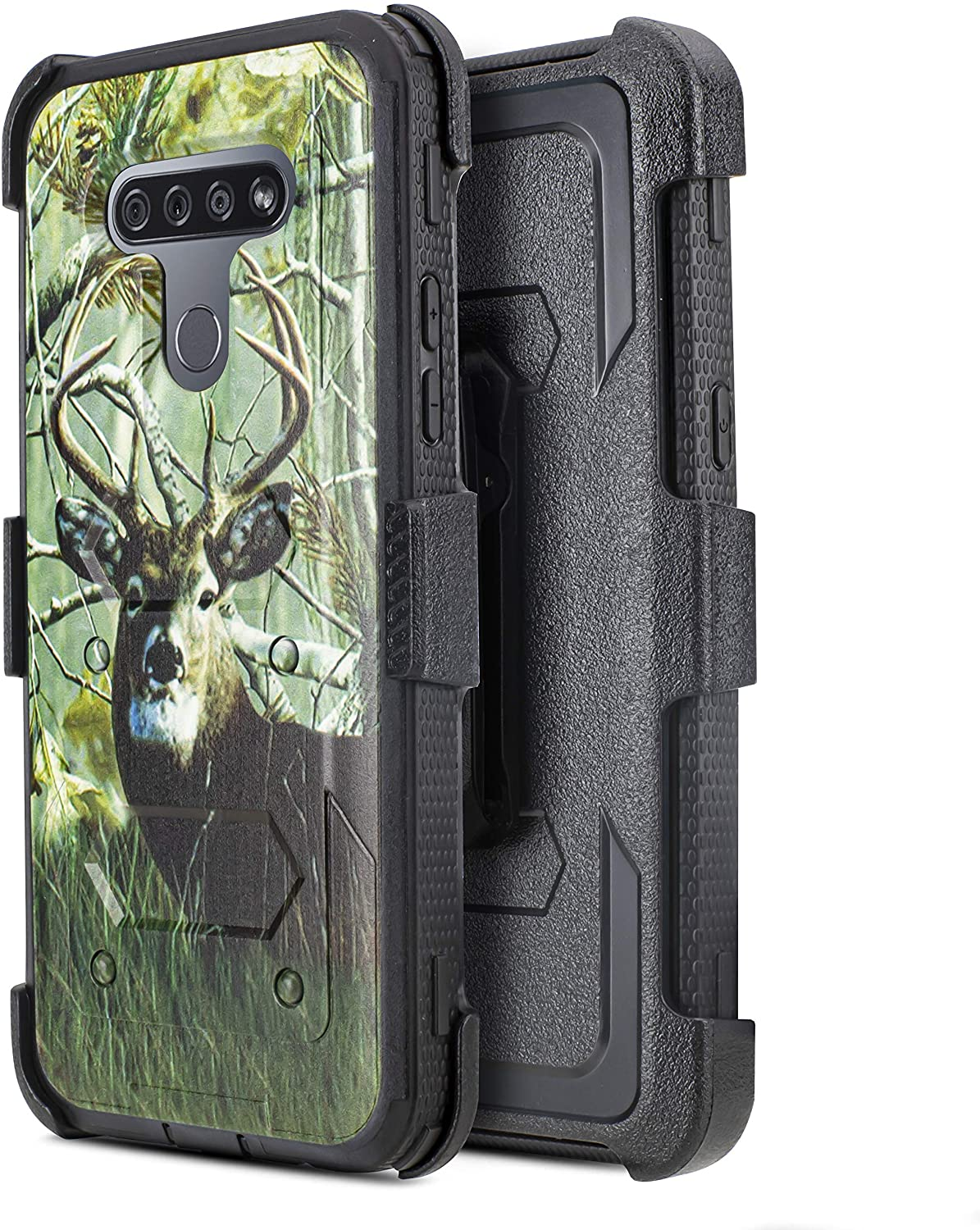 Customerfirst LG K51 Case with Belt Clip Holster Cell Phone Case [Built-in Screen Protector] Protective Armor Holster [Kickstand] (Deer)