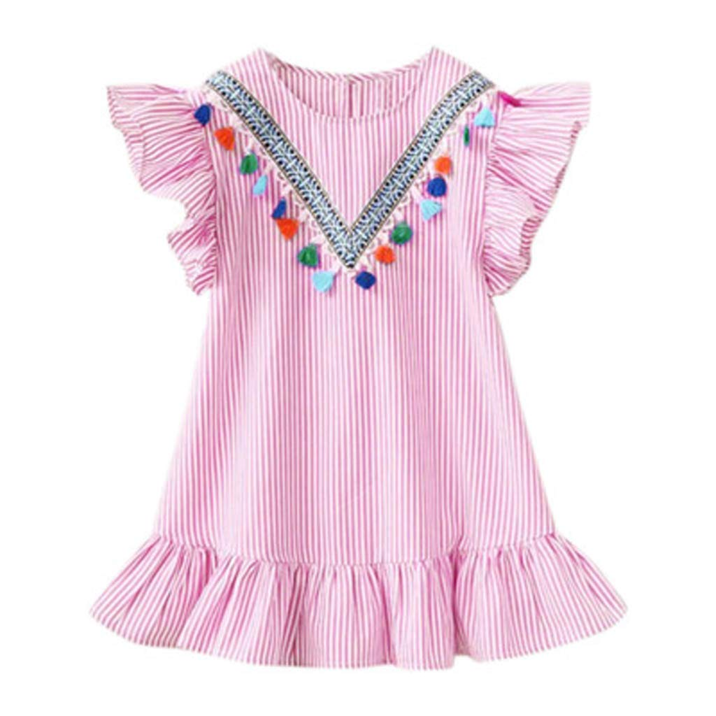 Baby Dress Color Dress for Girls Birthday Dress Toddler Baby Girls Fly Sleeve Tassels Ruffle Stripe Princess Dress Outfits Baby Girl Fall Dress