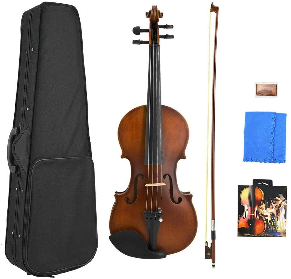 Neufday Maple Acoustic Violin,Retro Maple Wood Acoustic Violin with String Rosin Box Musical Instrument Accessories(3/4 Retro Violin with AV17 String)
