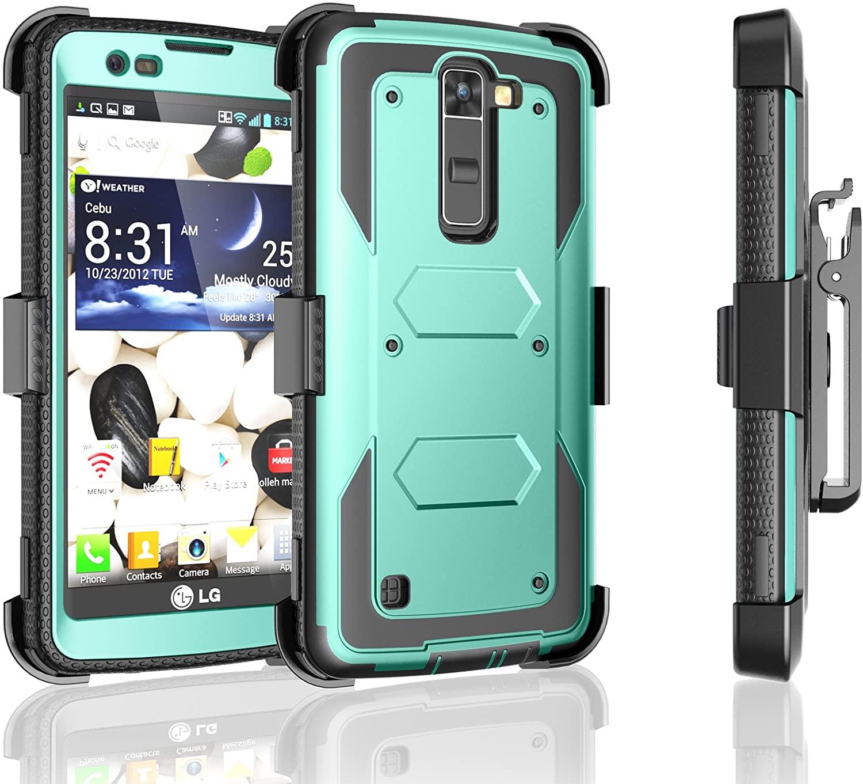 LG Escape 3 Case, LG Phoenix 2 Case, LG Treasure LTE Case, Tekcoo [TShell] [Turquoise] Shock Absorbing [Built-in Screen] Holster Locking Belt Clip Defender Heavy Cover for LG K7/ K8/ Tribute 5