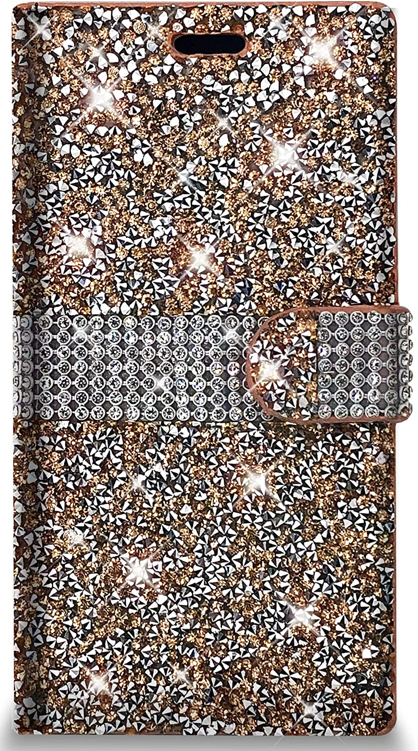 PinyCase Bling Rhinestone Wallet Case for Samsung Galaxy Note20 Ultra Glitter Stand Sparkle Crystal Diamond Flip Card Slot Luxury Girl Women Phone Cover (Galaxy Note 20 Ultra, Rose Gold)
