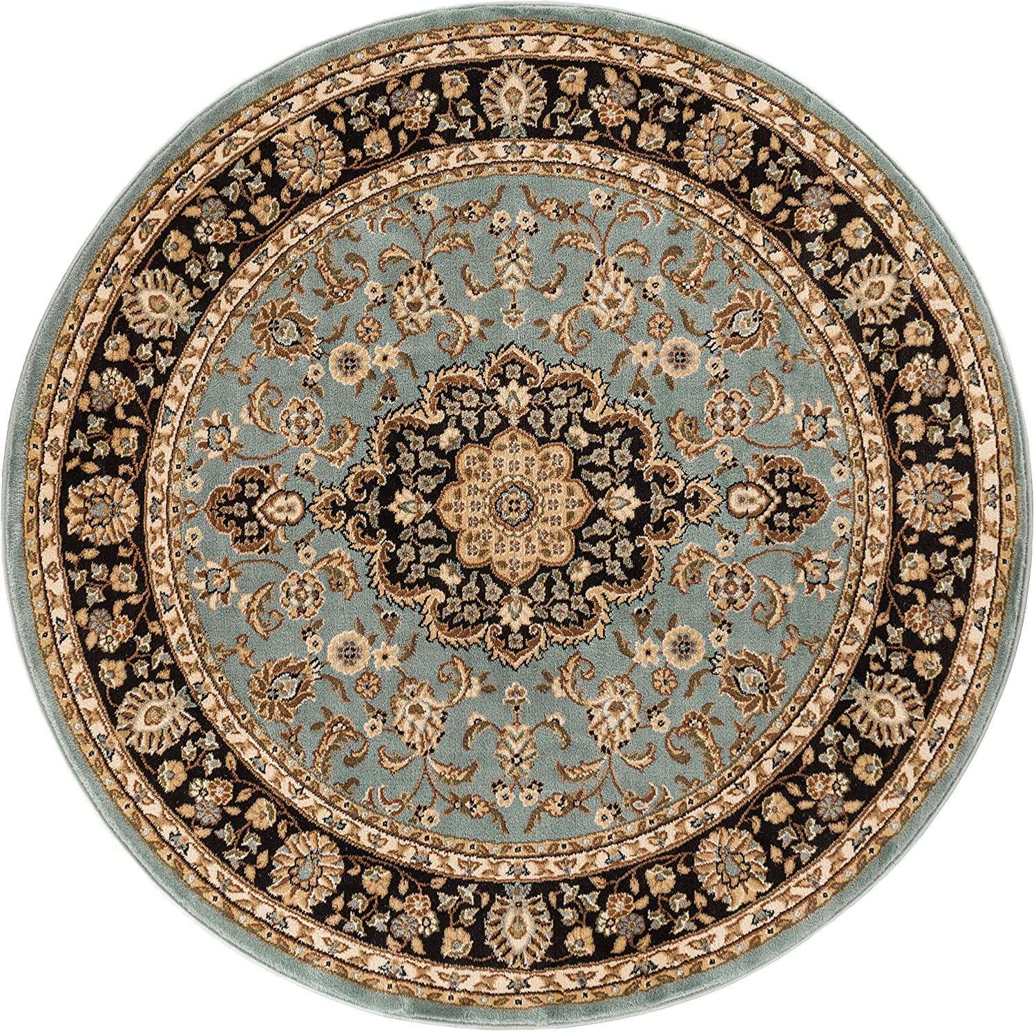 Noble Medallion Light Blue Persian Floral Oriental Formal Traditional 4 Round (3'11