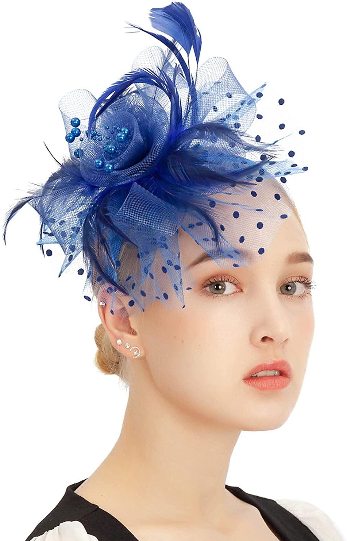 Fascinator Hats Mesh Feather Tea Party Kentucky Derby Hat Cocktail Wedding Headwear for Girls Women